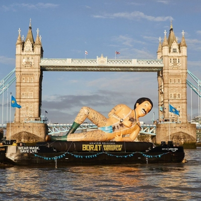 A film launch, the River Thames and Borat wearing a facemask as a thong