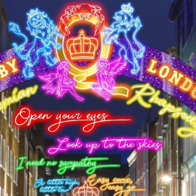 Look up to the skies and see! Bohemian Rhapsody installation lights up London's Carnaby Street