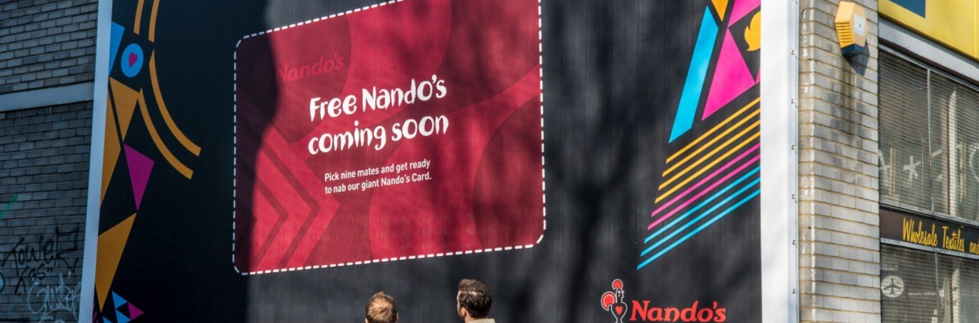Posters with huge, peel-off vouchers for free meals at Nando's create great PR and online content
