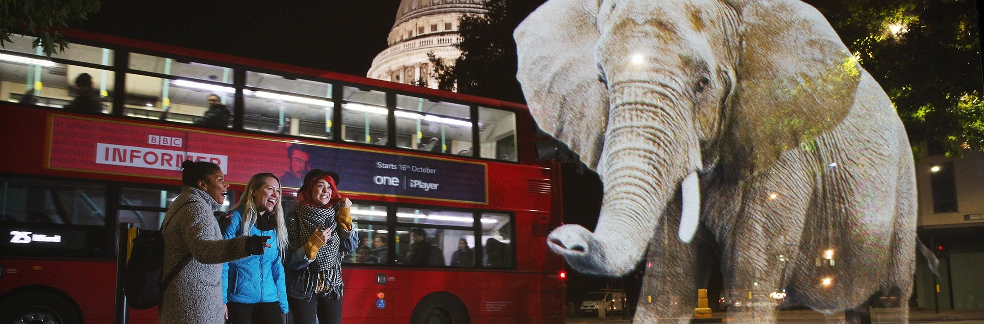 WWF uses an African elephant roaming around London to highlight wildlife trafficking